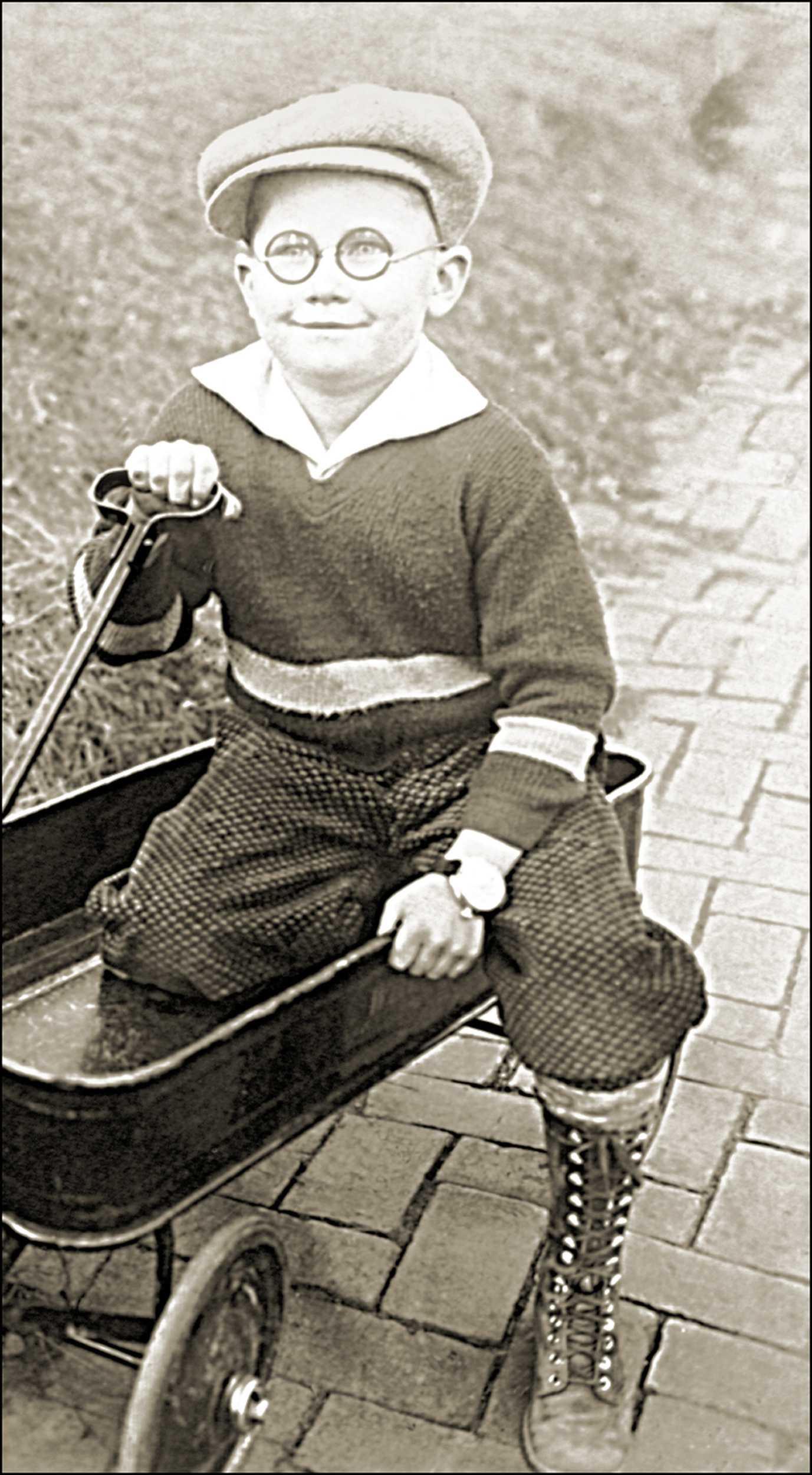 boy on wagon.