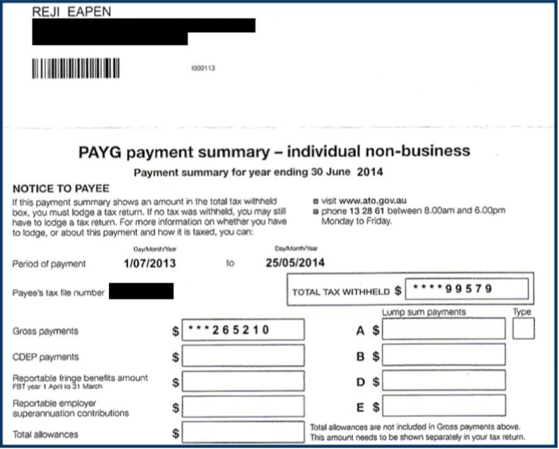 Reji Eapen - PAYG payment summary