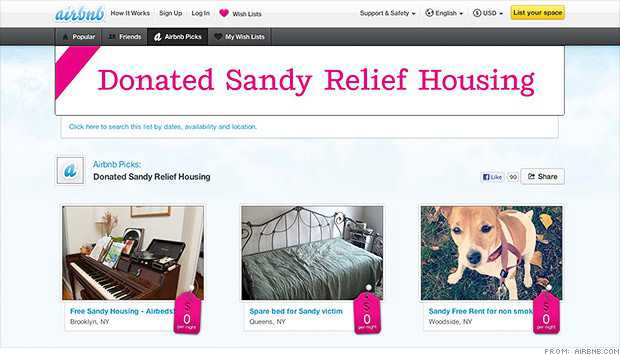 AirBNB Donated Sandy Relief Housing