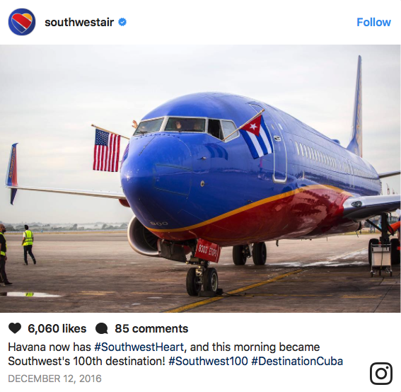 Southwest Airlines Instagram Post