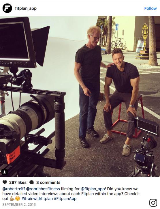 Fitplan App Instagram Behind-The-Scenes Post