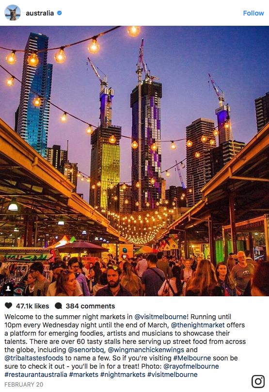 Tourism Australia Instagram Post