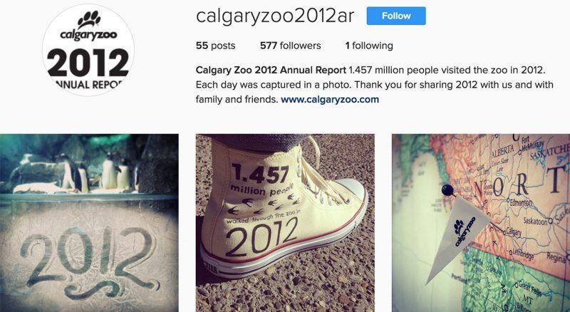 Calgary Zoo 2012 Annual Report on Instagram