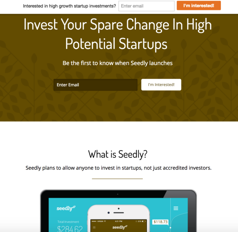 Seedly MVP was a landing page created that integrated email drips with Autopilot and Google docs