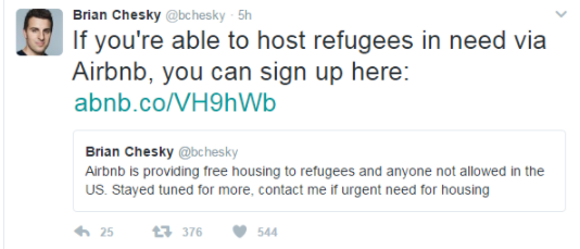 Tweet from Brian Chesky, CEO of AirBNB