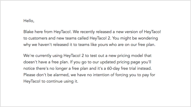 Example of HeyTaco!'s transparent email communication to customers