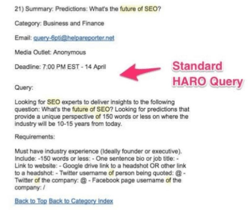 HARO email response example