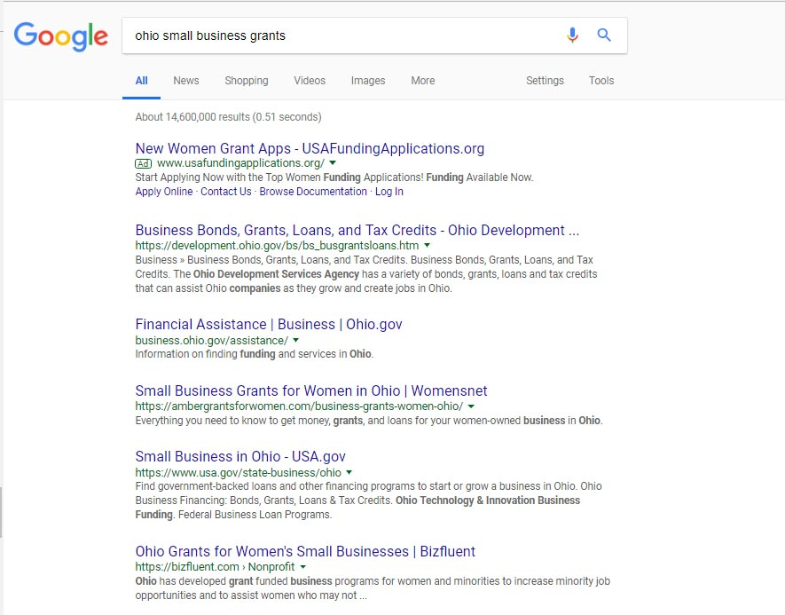 Example Google search for ohio small business grants