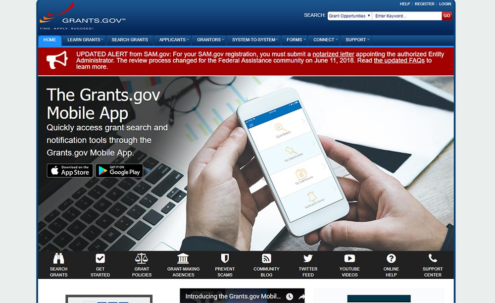 Grants.gov website screenshot